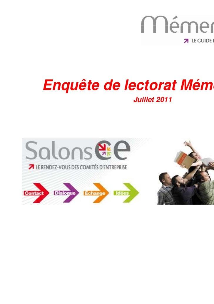 Enquête de lectorat MémentoCE                     Juillet 201130/08/2011   Enquête de lectorat MémentoCE -                ...