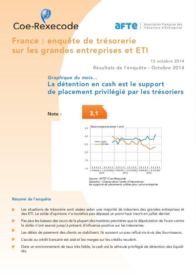 France : enquête de trésorerie  sur les grandes entreprises et ETI  13 octobre 2014  Résultats de l'enquête - Octobre 2014...