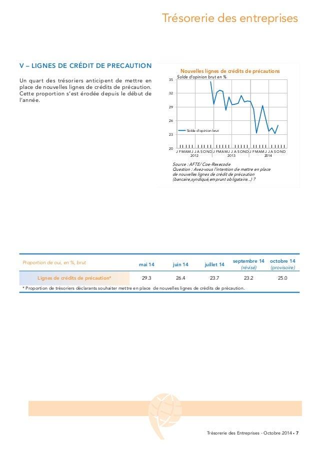 Trésorerie des entreprises  Trésorerie des Entreprises - Octobre 2014 • 7  v – LIGNES dE CRÉdIT dE PRECauTION  Un quart de...