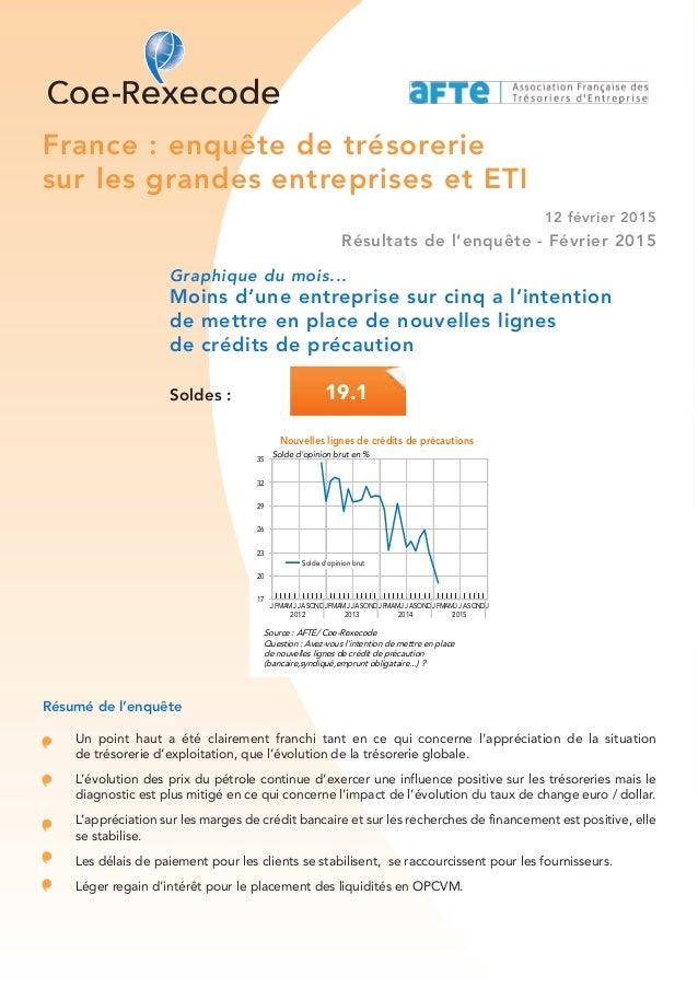 France : enquête de trésorerie sur les grandes entreprises et ETI 12 février 2015 Résultats de l'enquête - Février 2015 Gr...