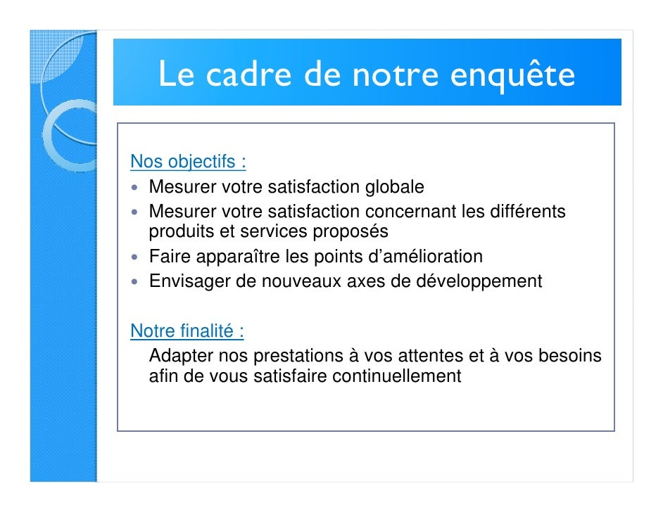 enqu u00eate de satisfaction client 2011