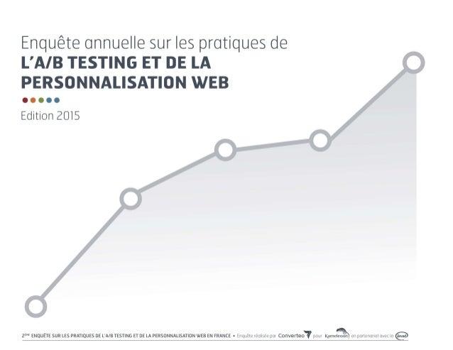 Enquête sur les pratiques de l'A/B testing et de la personnalisation