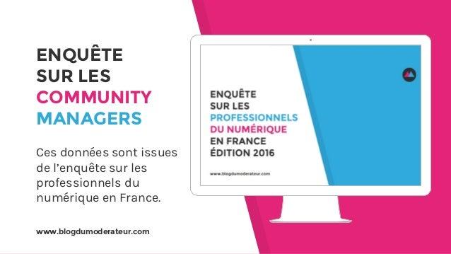 www.blogdumoderateur.com ENQUÊTE SUR LES COMMUNITY MANAGERS Ces données sont issues de l'enquête sur les professionnels du...