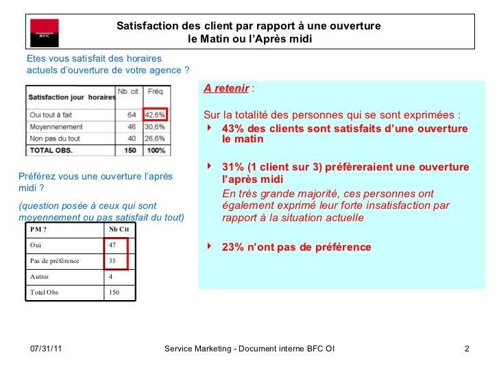 Satisfaction des client par rapport à une ouverture  le Matin ou l'Après midi <ul><li>A retenir  :  </li></ul><ul><li>Sur ...