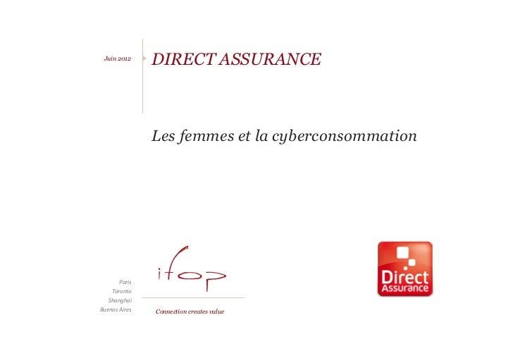 Etude Direct Assurance – Juin 2012 - Focus sur les cyberconsommatrices  Juin 2012                       DIRECT ASSURANCE  ...