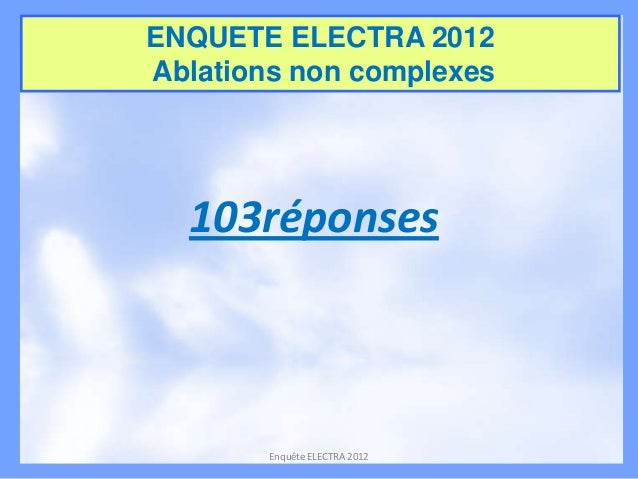 ENQUETE ELECTRA 2012 Ablations non complexes  103réponses  Enquête ELECTRA 2012