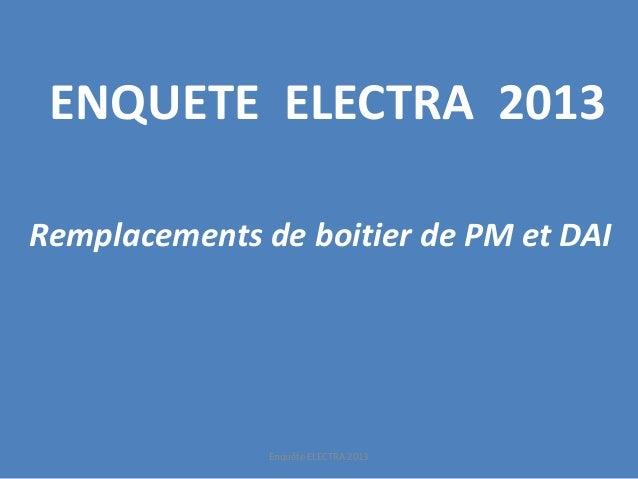 ENQUETE ELECTRA 2013  Remplacements de boitier de PM et DAI  Enquête ELECTRA 2013