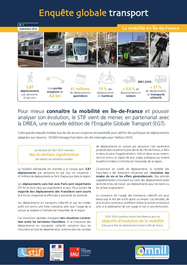 Enquête globale transport N° 1 Septembre 2012                                                                          La ...