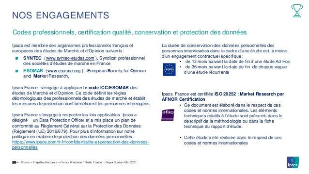 ©Ipsos – Enquête électorale – France télévision / Radio France - Sopra Steria – Mai 2021 Codes professionnels, certificati...