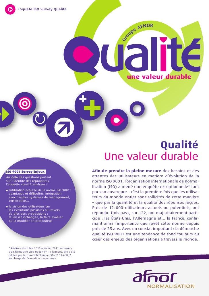 Enquête ISO Survey Qualité                                                                             Qualité            ...