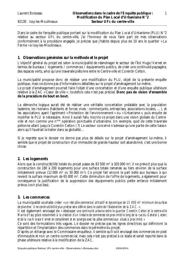 Laurent Boisseau 92130 Issy-les-Moulineaux Observations dans le cadre de l'Enquête publique : Modification du Plan Local d...