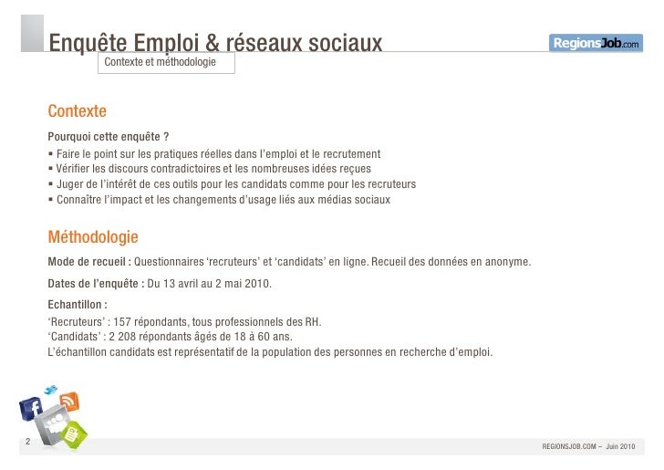 Enquete Reseaux sociaux RegionsJob Slide 2