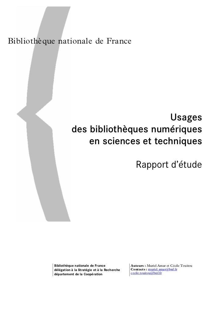 Bibliothèque nationale de France                                                         Usages                           ...