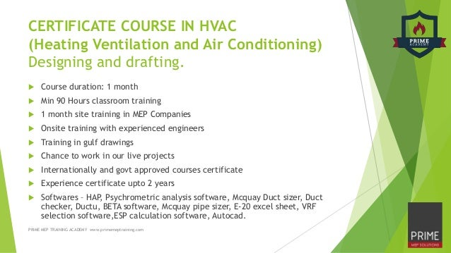 HVAC & MEP Training Courses in Calicut & Cochin, Kerala, India