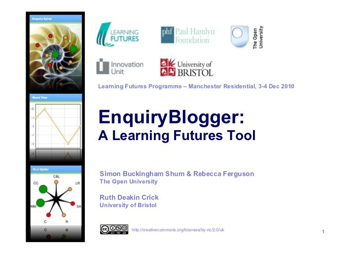 Learning Futures Programme – Manchester Residential, 3-4 Dec 2010EnquiryBlogger:A Learning Futures ToolSimon Buckingham Sh...