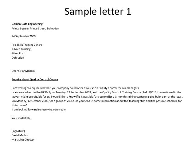 Sales Inquiry Letter. Applications Letters – Sales, Inquiry, Cover