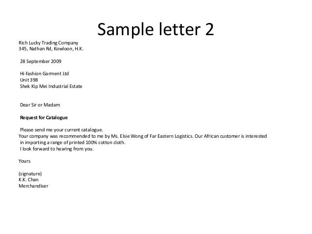 Enquiry letters – Inquiring Letter Sample