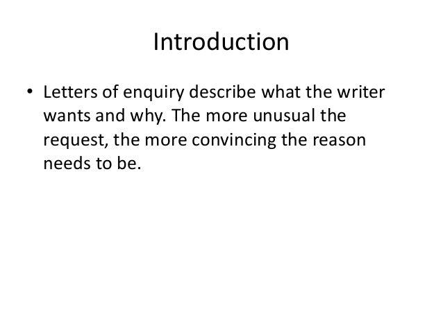 enquiry letters unit 4 part 1 2 - Enquiry Muster