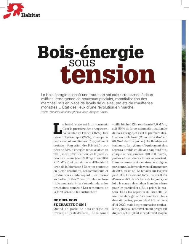 Habitat      Bois-énergie         sous                         tension          Le bois-énergie connaît une mutation radic...