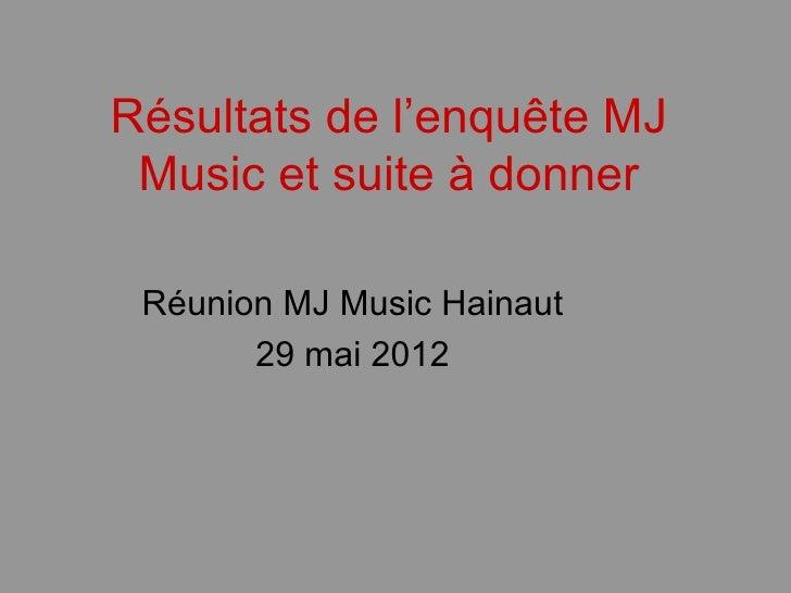 Résultats de l'enquête MJ Music et suite à donner Réunion MJ Music Hainaut       29 mai 2012