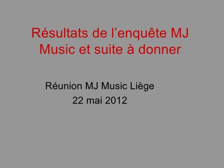 Résultats de l'enquête MJ Music et suite à donner  Réunion MJ Music Liège       22 mai 2012