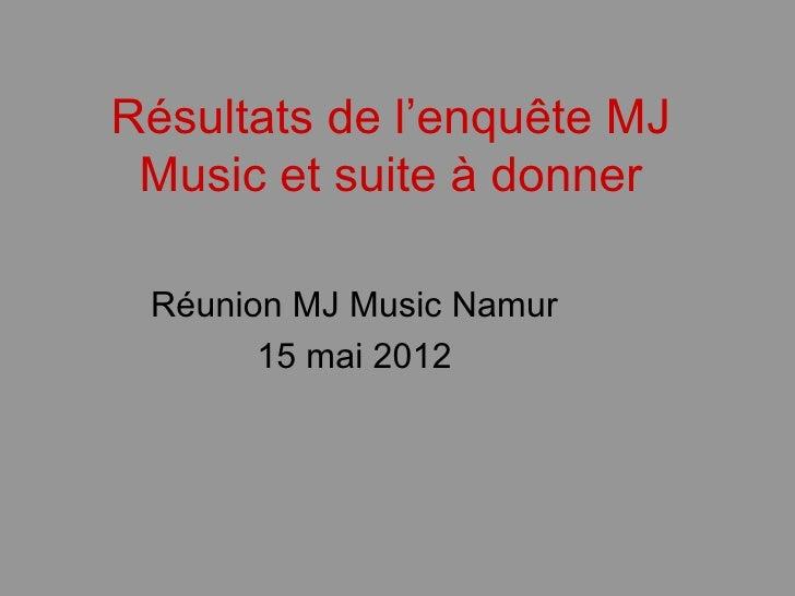 Résultats de l'enquête MJ Music et suite à donner Réunion MJ Music Namur       15 mai 2012