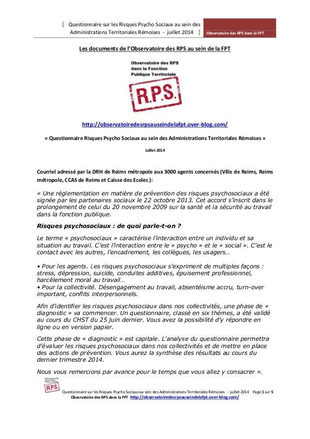 [ Questionnaire sur les Risques Psycho Sociaux au sein des Administrations Territoriales Rémoises - juillet 2014 ] Observa...