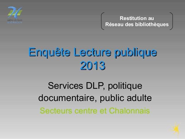 Enquête Lecture publiqueEnquête Lecture publique 20132013 Services DLP, politique documentaire, public adulte Secteurs cen...