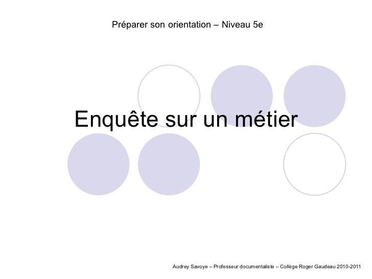 Enquête sur un métier Audrey Savoye – Professeur documentaliste – Collège Roger Gaudeau 2010-2011 Préparer son orientation...