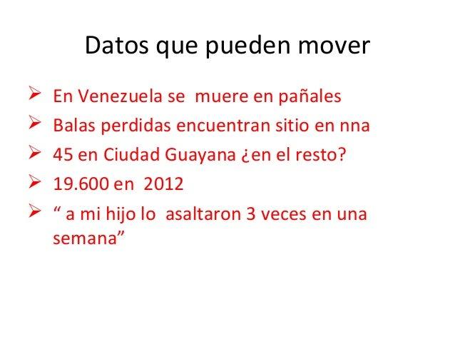 Datos que pueden mover   En Venezuela se muere en pañales   Balas perdidas encuentran sitio en nna   45 en Ciudad Guaya...