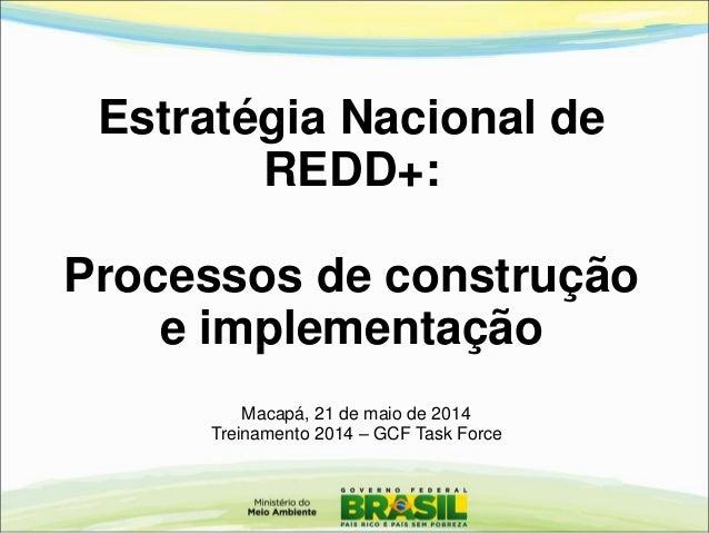Estratégia Nacional de REDD+: Processos de construção e implementação Macapá, 21 de maio de 2014 Treinamento 2014 – GCF Ta...