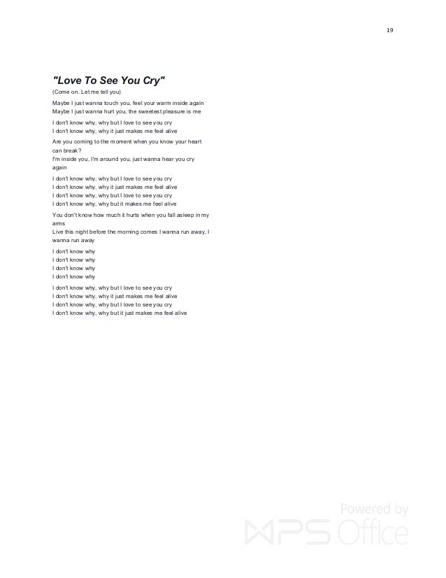 I love to see you cry lyrics