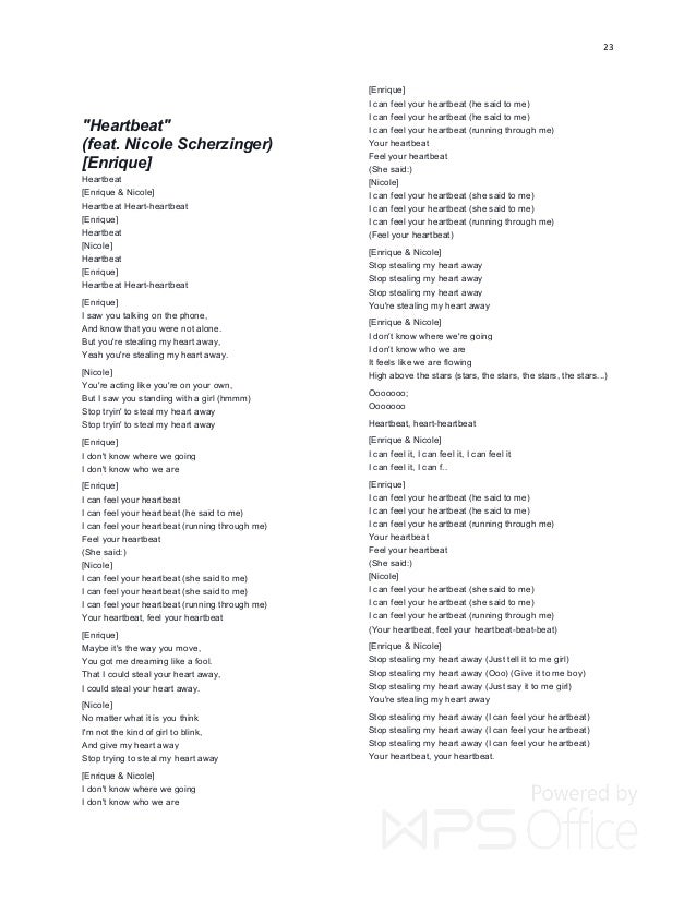 Lyric heartbeat you make me feel so weak lyrics : ENRIQUE LYRICS