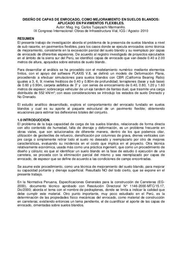 DISEÑO DE CAPAS DE ENROCADO, COMO MEJORAMIENTO EN SUELOS BLANDOS: APLICADO EN PAVIMENTOS FLEXIBLES. Autor: Mag. Ing. Carlo...
