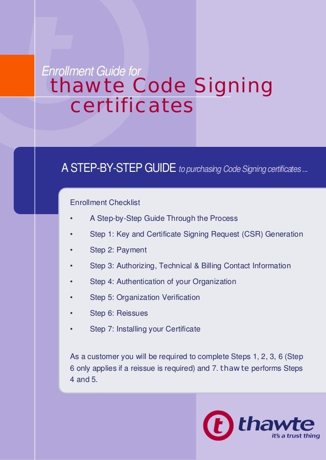 Enrollment Guide Of Code Signing Certificates