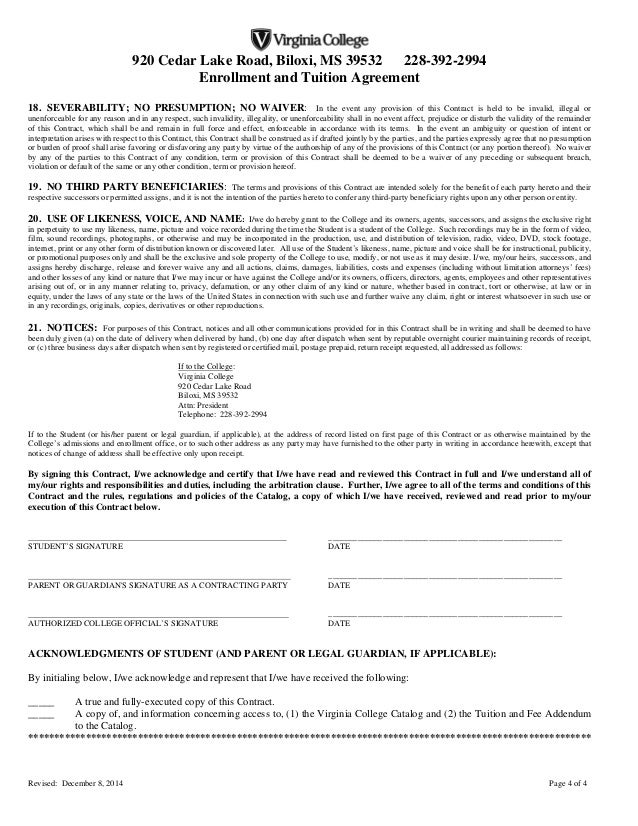 Enrollment Agreement Biloxi (Final 12-8-14)