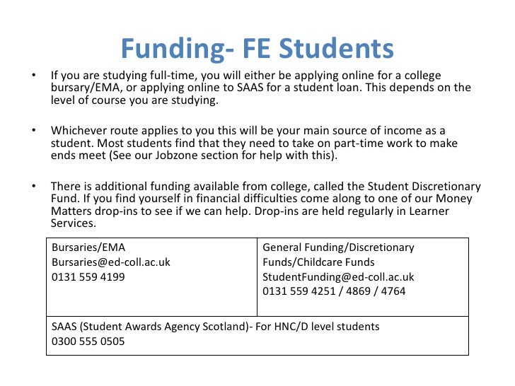 Funding- FE Students•   If you are studying full-time, you will either be applying online for a college    bursary/EMA, or...