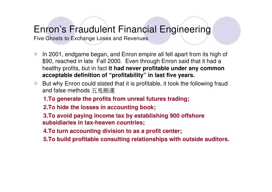 enron case study accounting Sherron watkins, alison bass, dana  enron: a case study in whistleblowing  warning him that enron 'might implode in a wave of accounting scandals' in.