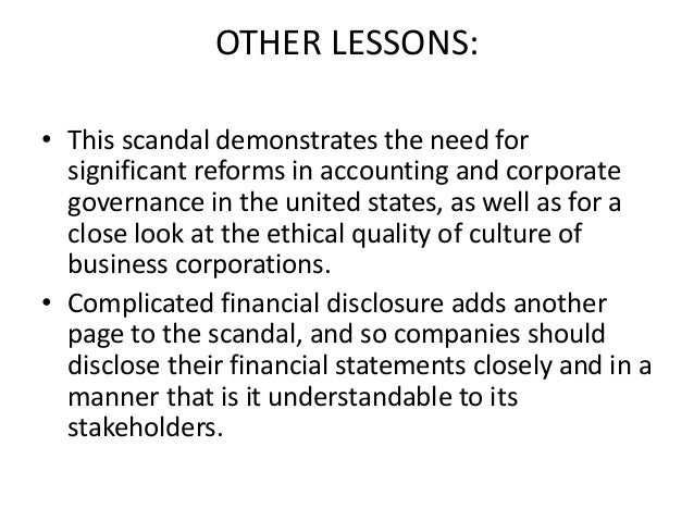 the enron scandal lessons learned and facts The paper also analyzes the impact of policy responses to the enron scandal and attempts to explain those responses through two theoretical frameworks grounded in public policy enron case study tutorial | sophia learning.