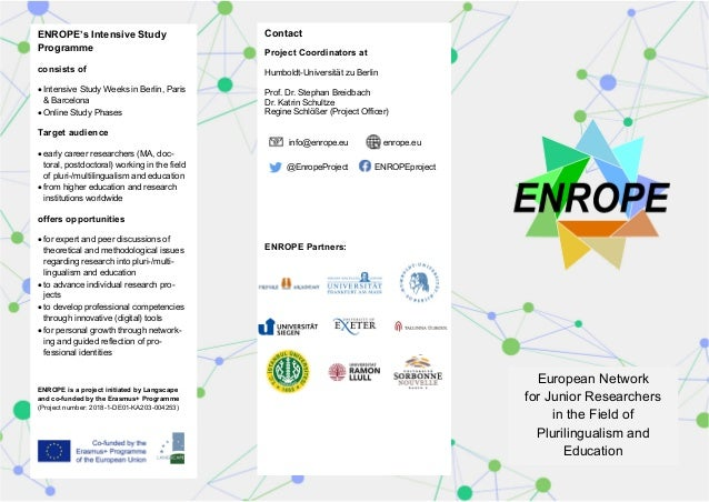 European Network for Junior Researchers in the Field of Plurilingualism and Education Contact Project Coordinators at Humb...