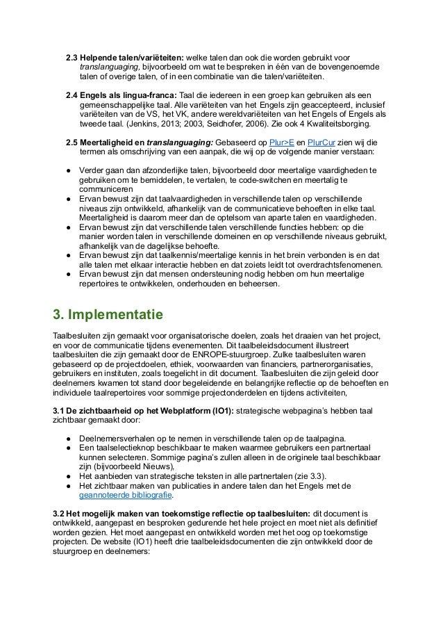 Enrope language policy   dutch nederlands.docx Slide 2
