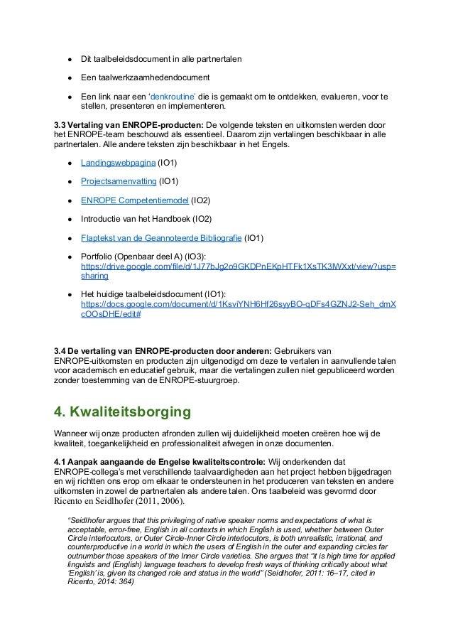 Enrope language policy   dutch nederlands.docx Slide 3