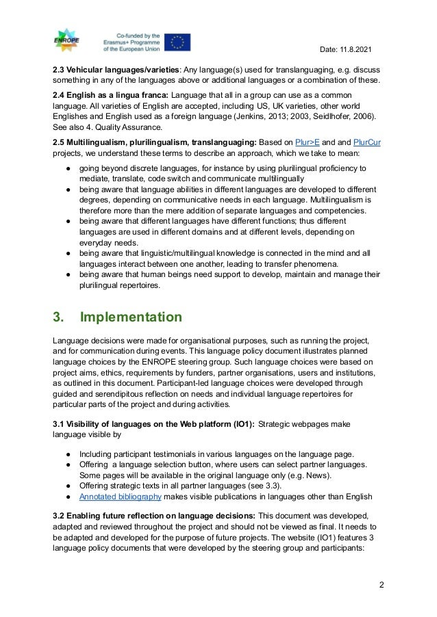 Enrope language policy, linguistic housekeeping, definitions and implementation Slide 2