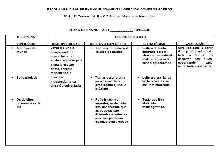 """ESCOLA MUNICIPAL DE ENSINO FUNDAMENTAL GERALDO GOMES DE BARROS                              Série: 3ª Turmas: """"A, B e C """"...."""