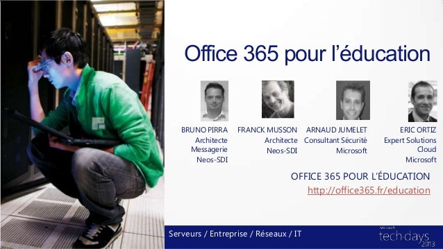 Office 365 pour l'éducation   BRUNO PIRRA     FRANCK MUSSON ARNAUD JUMELET               ERIC ORTIZ      Architecte       ...