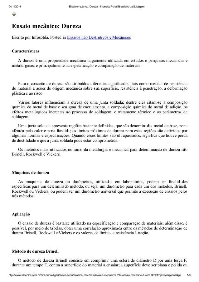 04/11/2014 Ensaio mecânico: Dureza - Infosolda Portal Brasileiro da Soldagem http://www.infosolda.com.br/biblioteca-digita...