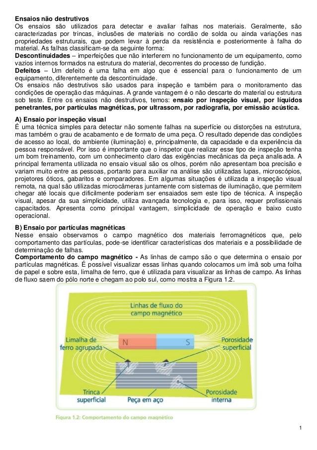 1 Ensaios não destrutivos Os ensaios são utilizados para detectar e avaliar falhas nos materiais. Geralmente, são caracter...