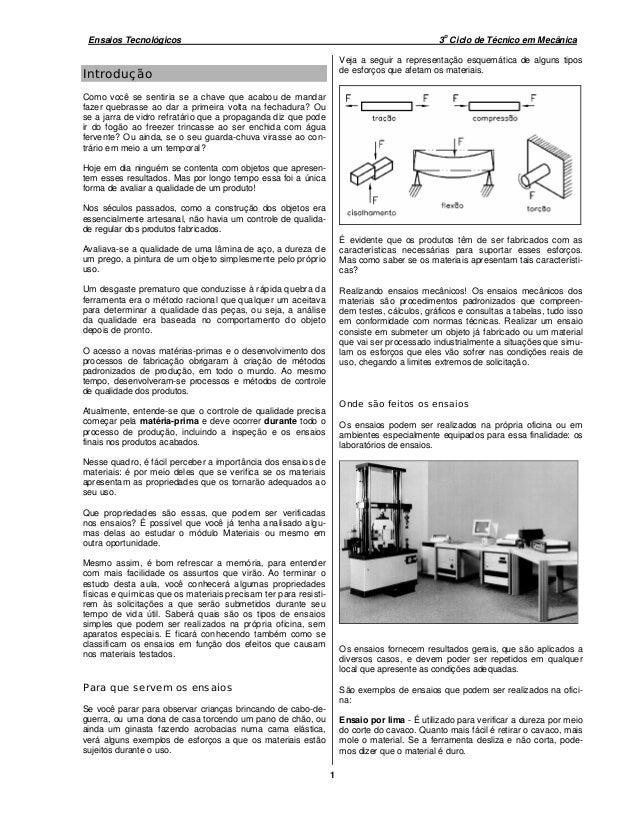 o Ensaios Tecnológicos                                                                         3 Ciclo de Técnico em Mecân...