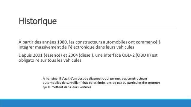 Historique À partir des années 1980, les constructeurs automobiles ont commencé à intégrer massivement de l'électronique d...