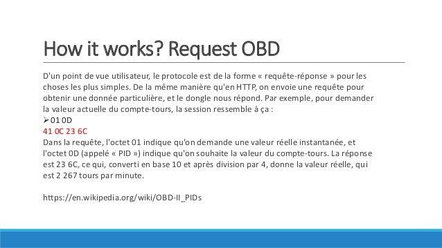 How it works? Request OBD D'un point de vue utilisateur, le protocole est de la forme « requête-réponse » pour les choses ...